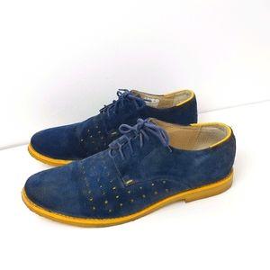 Mens Blue Suede Shoes Size 43 / 9 Portugal